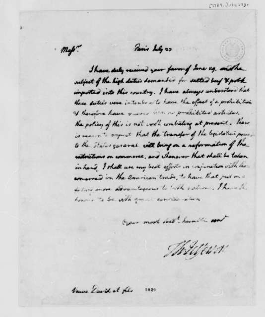 Thomas Jefferson to David Veuve & Sons, July 27, 1789