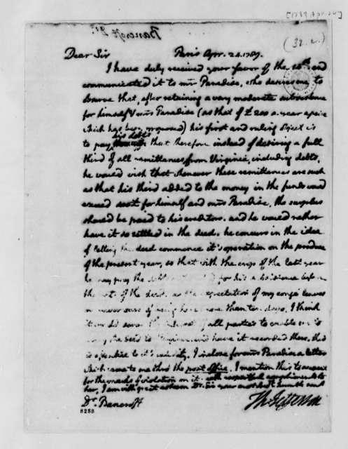 Thomas Jefferson to Edward Bancroft, April 24, 1789