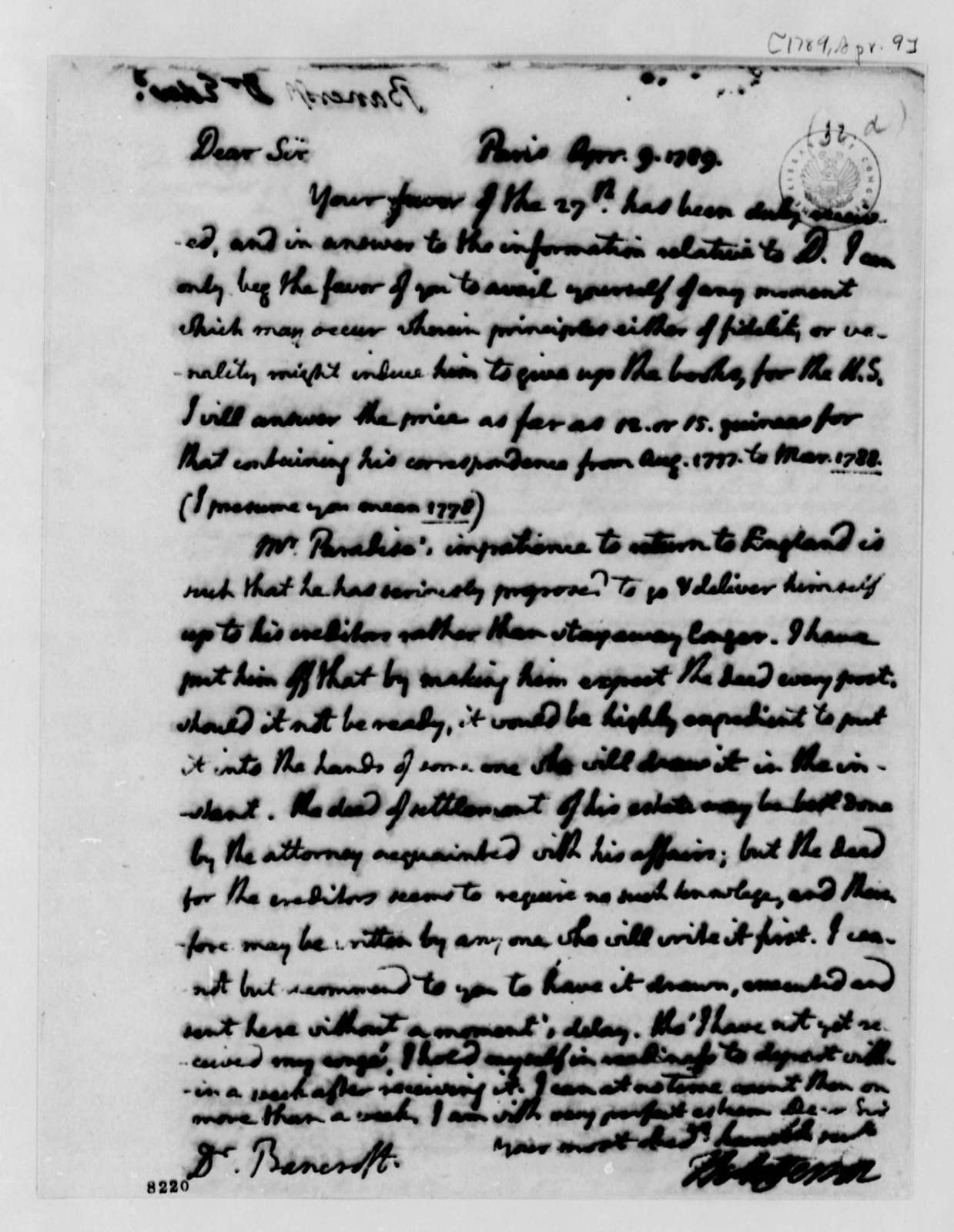 Thomas Jefferson to Edward Bancroft, April 9, 1789