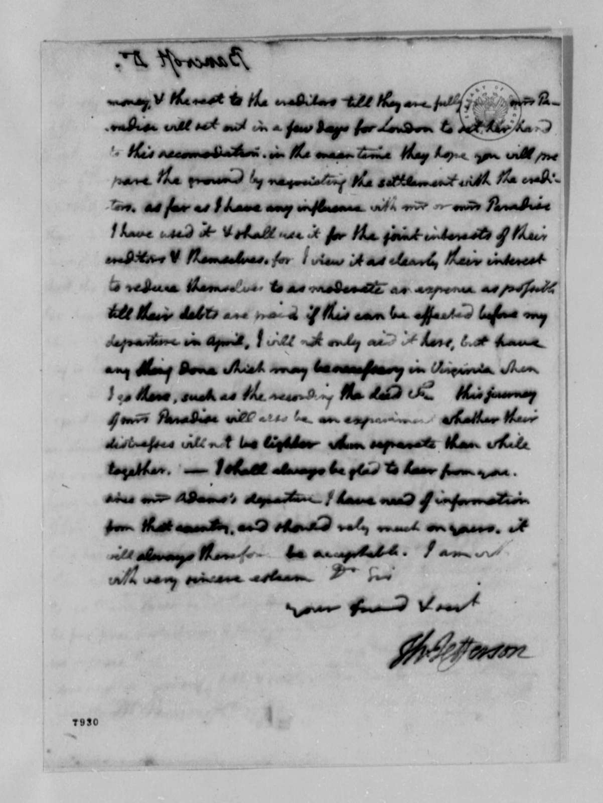 Thomas Jefferson to Edward Bancroft, January 26, 1789