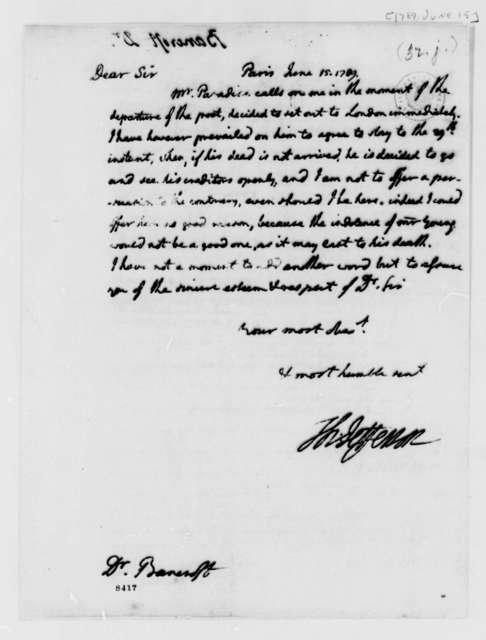 Thomas Jefferson to Edward Bancroft, June 15, 1789
