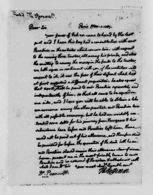 Thomas Jefferson to Edward Bancroft, March 1, 1789