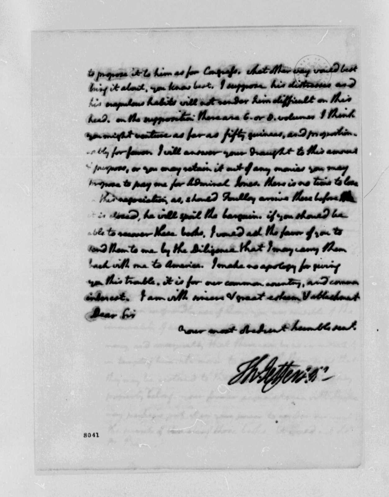 Thomas Jefferson to Edward Bancroft, March 2, 1789