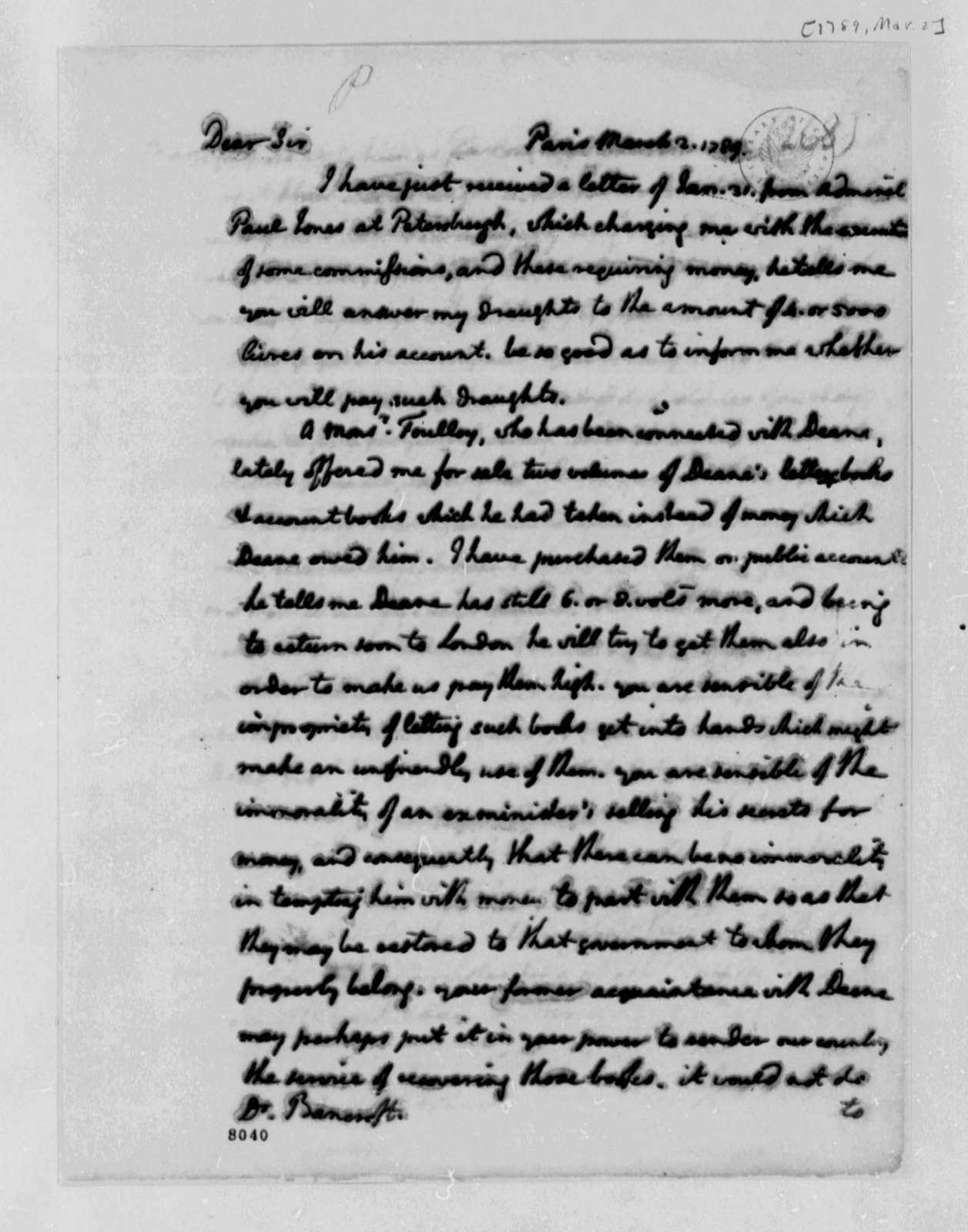 Thomas Jefferson to Edward Bancroft, March 2, 1789