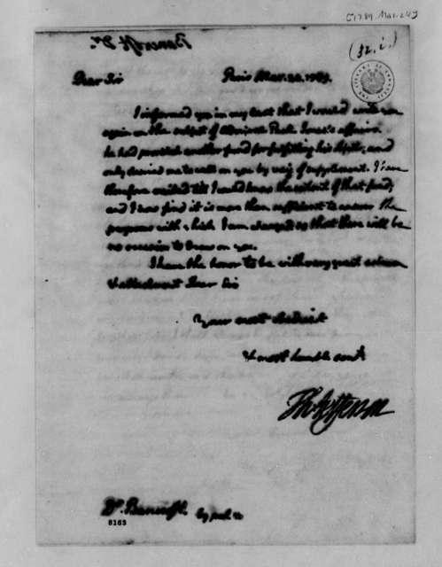 Thomas Jefferson to Edward Bancroft, March 24, 1789