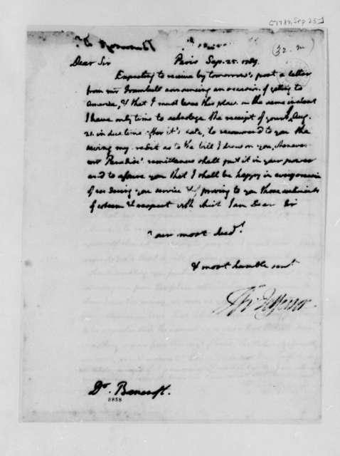 Thomas Jefferson to Edward Bancroft, September 25, 1789