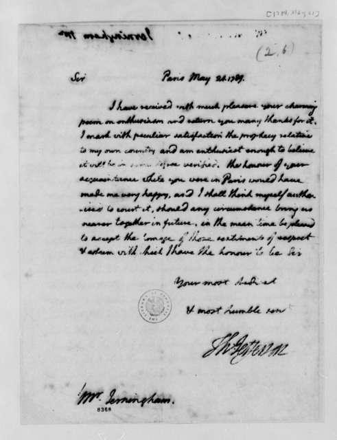 Thomas Jefferson to Edward Jerningham, May 21, 1789