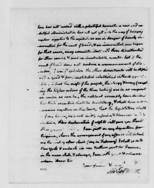 Thomas Jefferson to Edward Rutledge, September 18, 1789, with Account