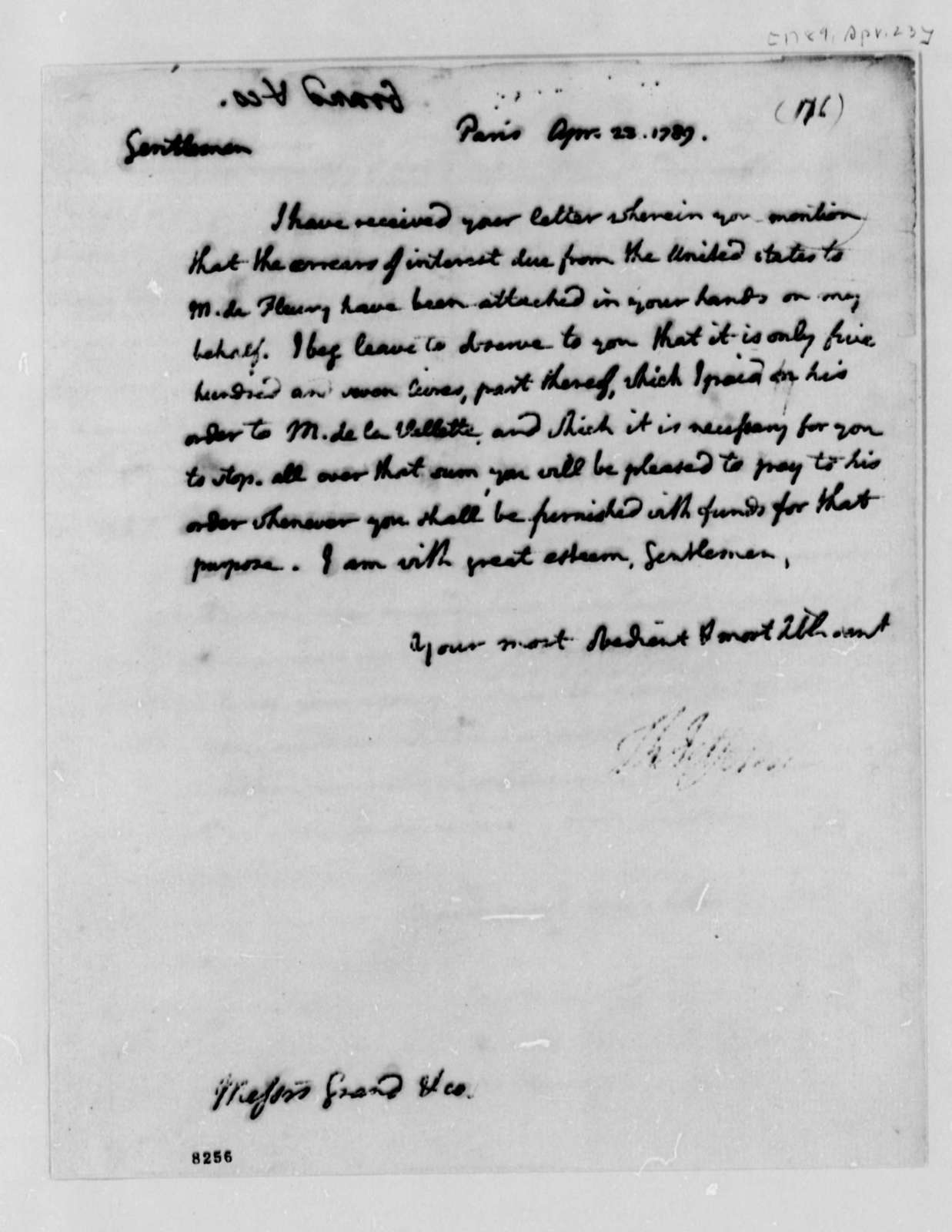 Thomas Jefferson to Ferdinand Grand & Company, April 23, 1789