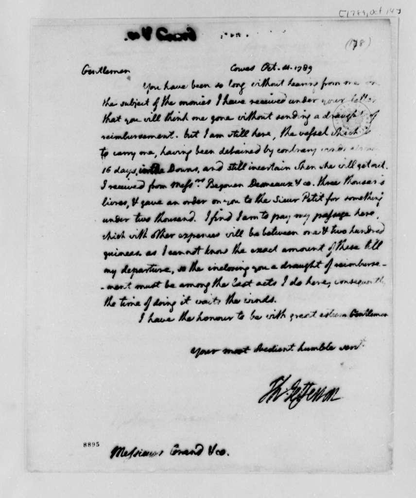 Thomas Jefferson to Ferdinand Grand & Company, October 14, 1789