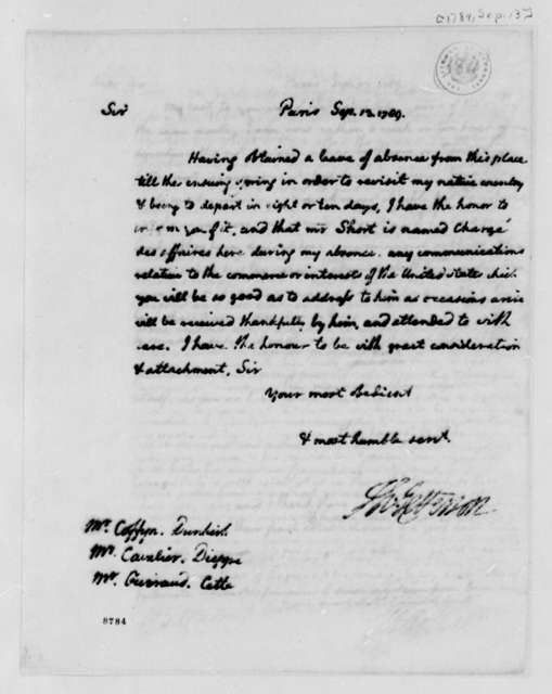 Thomas Jefferson to Francis Coffyn, Mr. Cavalier, and Mr. Guiraud, September 13, 1789, Circular Letter