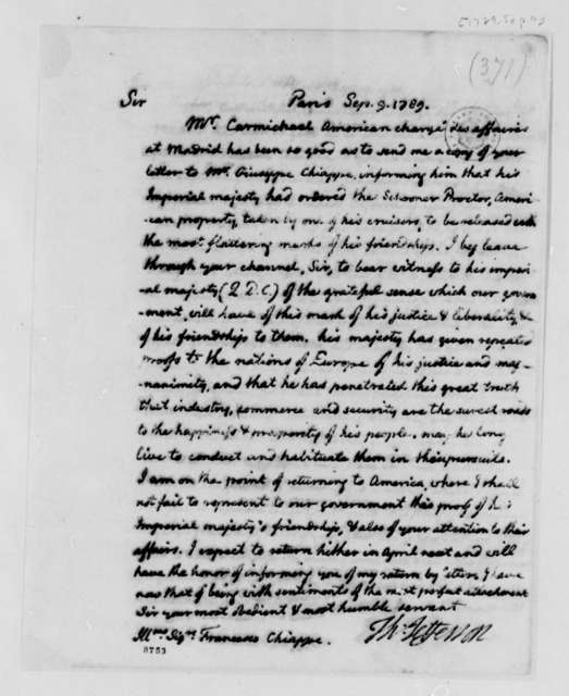 Thomas Jefferson to Francisco Chiappe, September 9, 1789