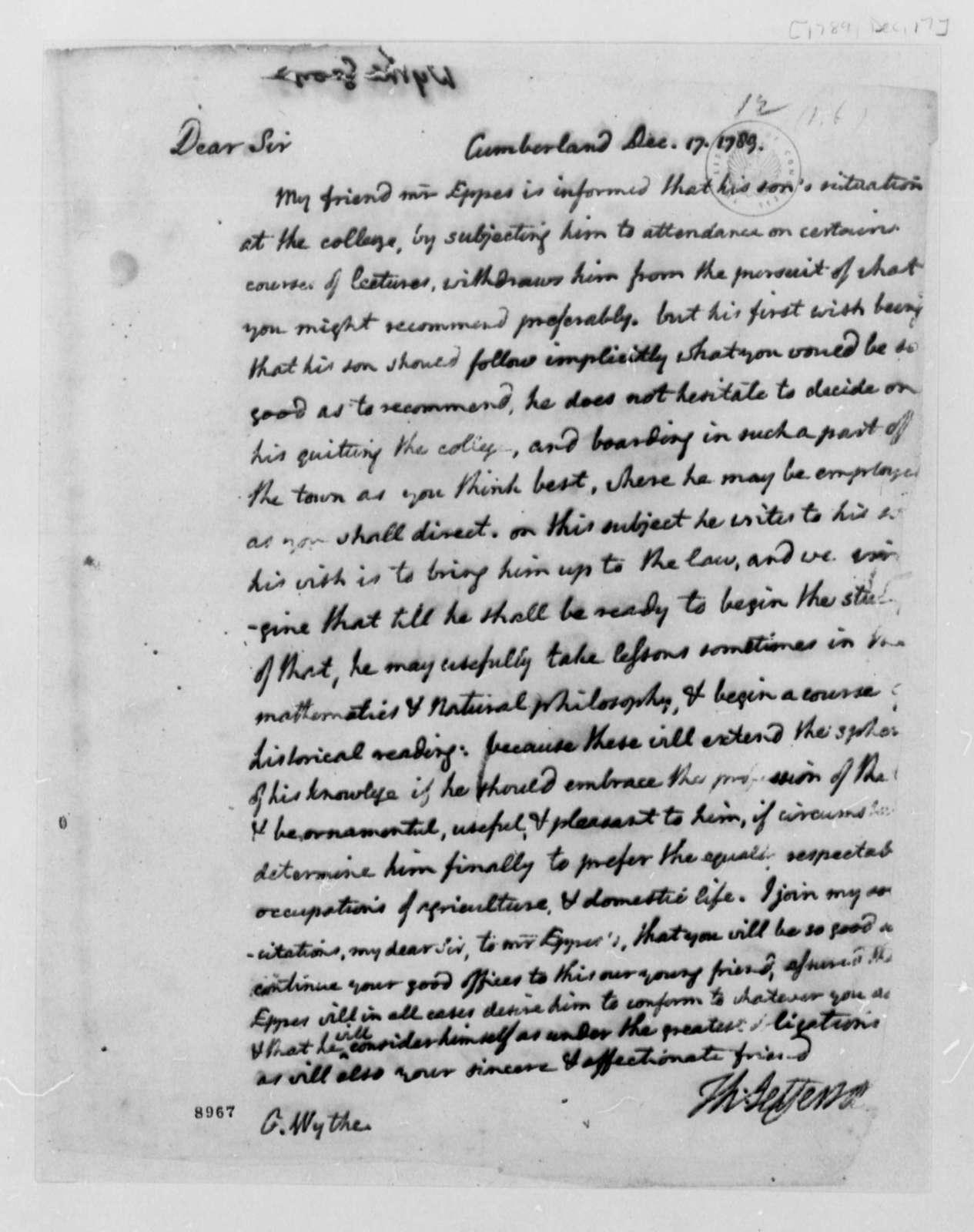 Thomas Jefferson to George Wythe, December 17, 1789
