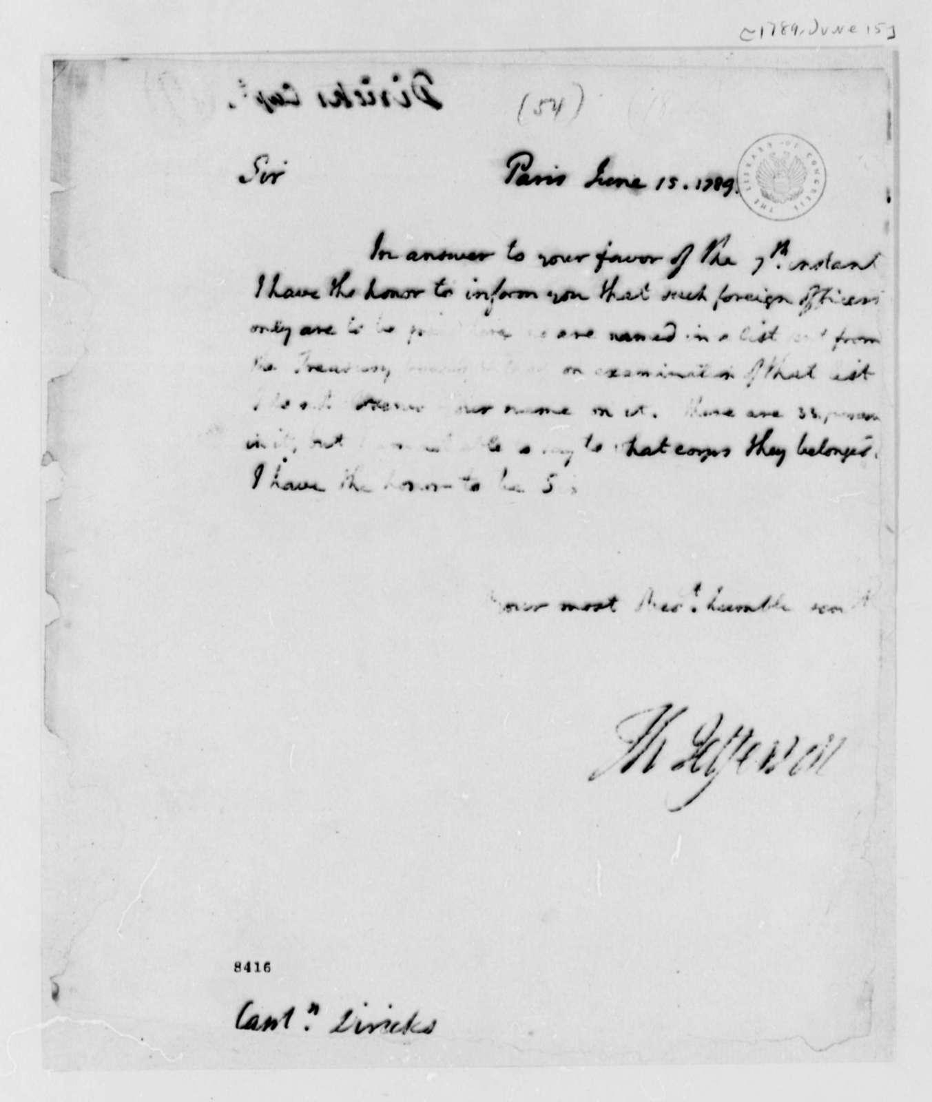 Thomas Jefferson to J. G. Diriks, June 15, 1789