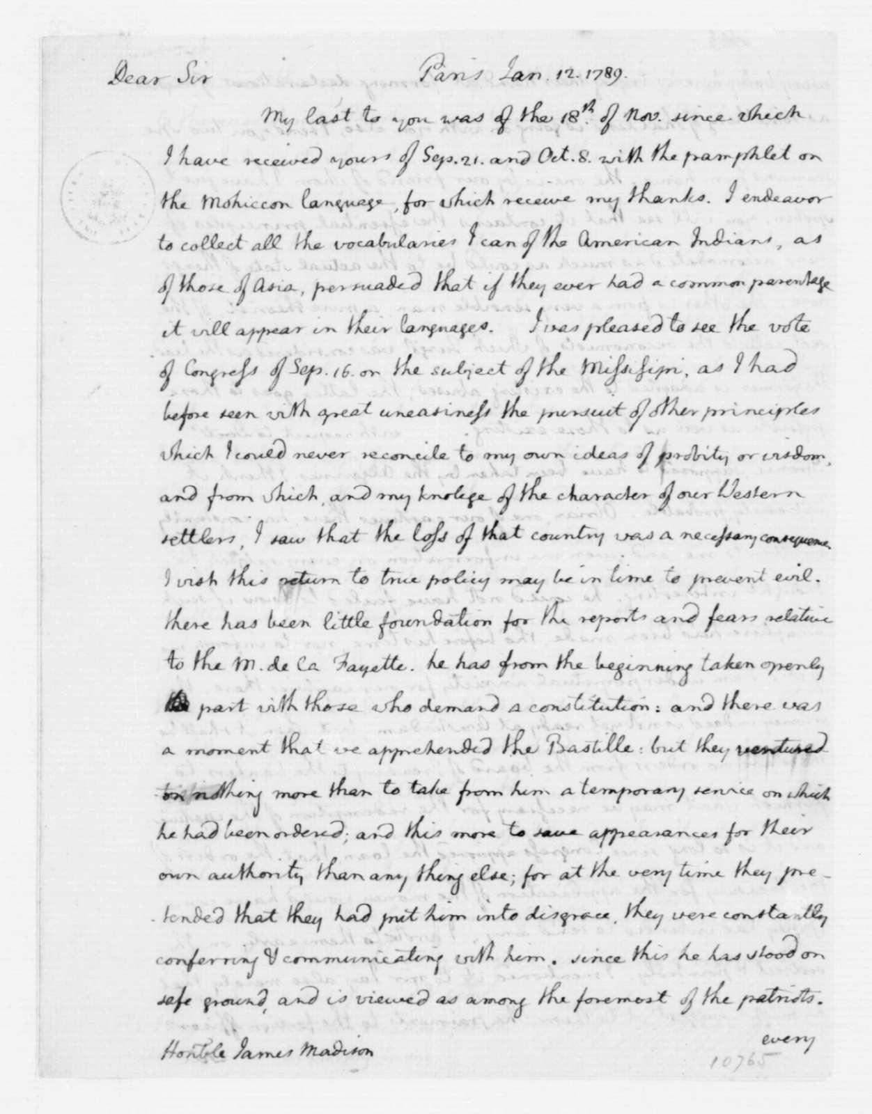 Thomas Jefferson to James Madison, January 12, 1789.