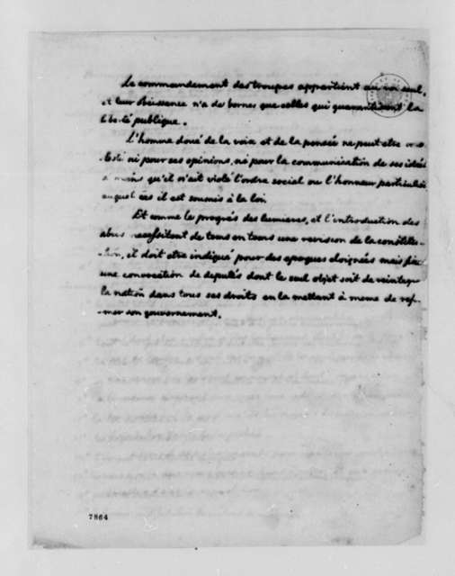 Thomas Jefferson to James Madison, January 12, 1789, with Declaration of Rights by Marquis de Lafayette and Dr. Richard Gem; Declaration in French