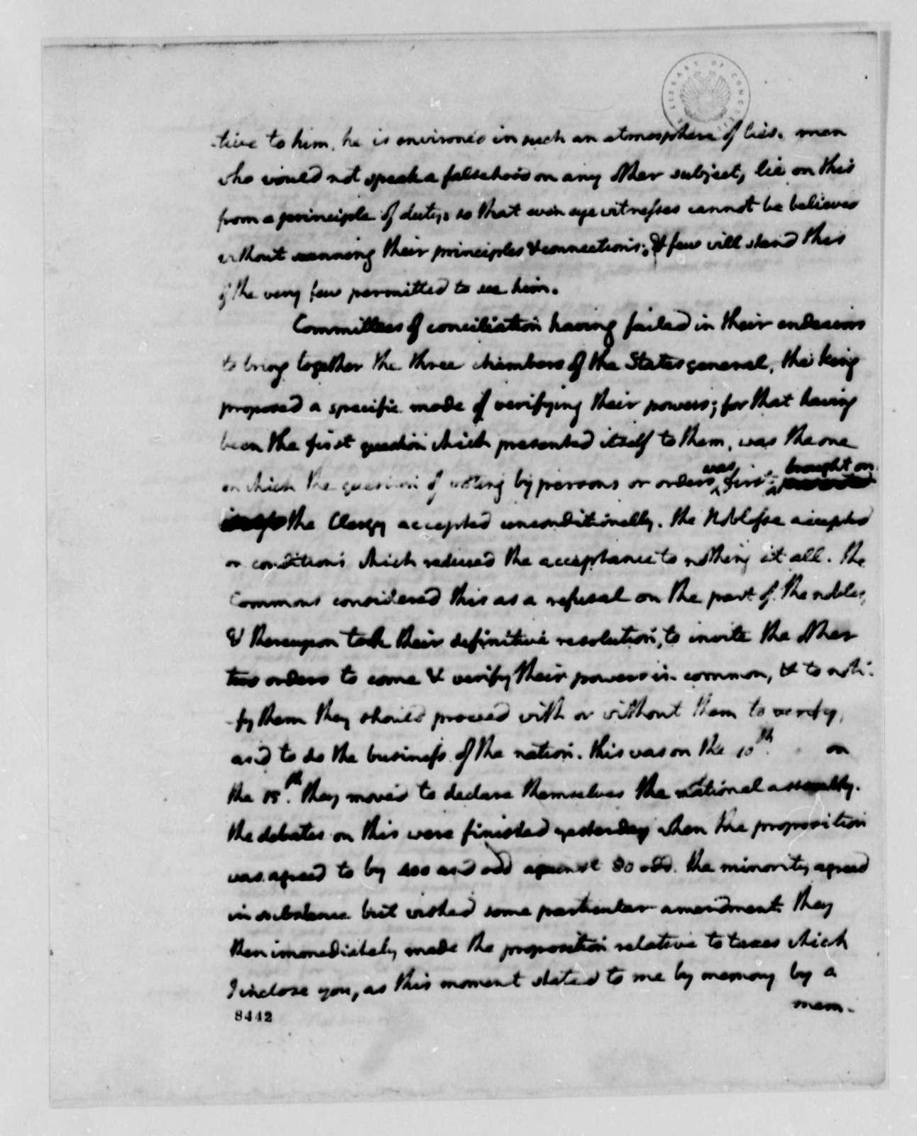 Thomas Jefferson to James Madison, June 18, 1789