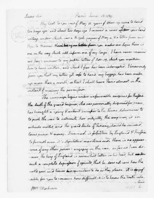 Thomas Jefferson to James Madison, June 18, 1789. with Enclosure in French on the Proceedings of the French National Assembly.