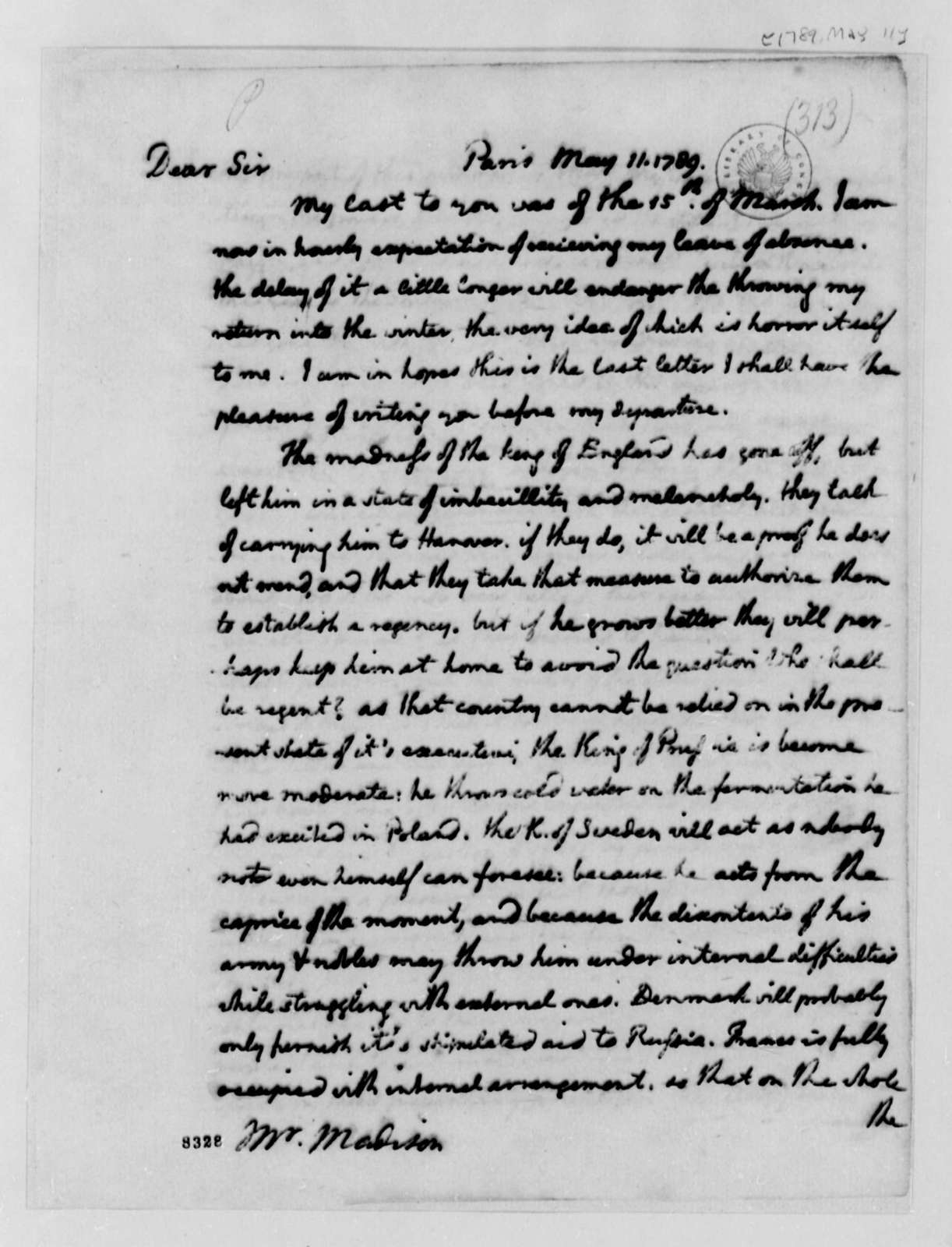 Thomas Jefferson to James Madison, May 11, 1789