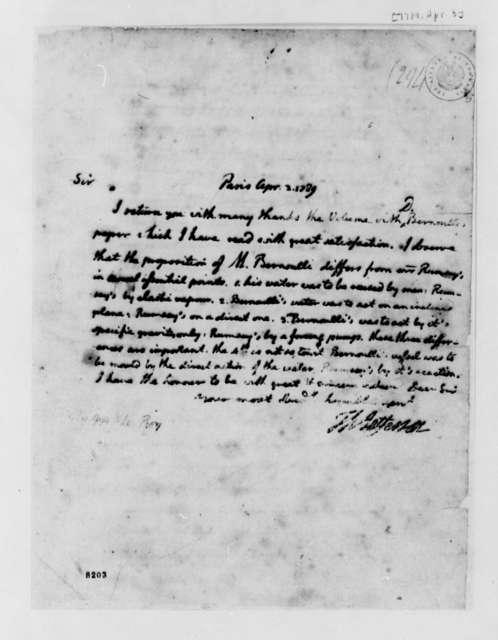 Thomas Jefferson to Jean Baptiste le Roy, April 3, 1789