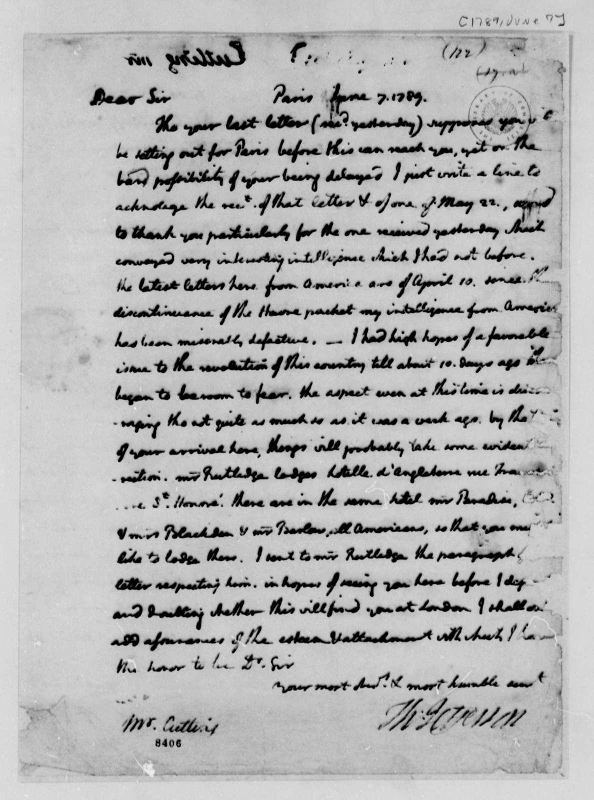 Thomas Jefferson to John B. Cutting, June 7, 1789, France