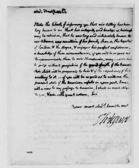 Thomas Jefferson to John Bondfield, June 27, 1789