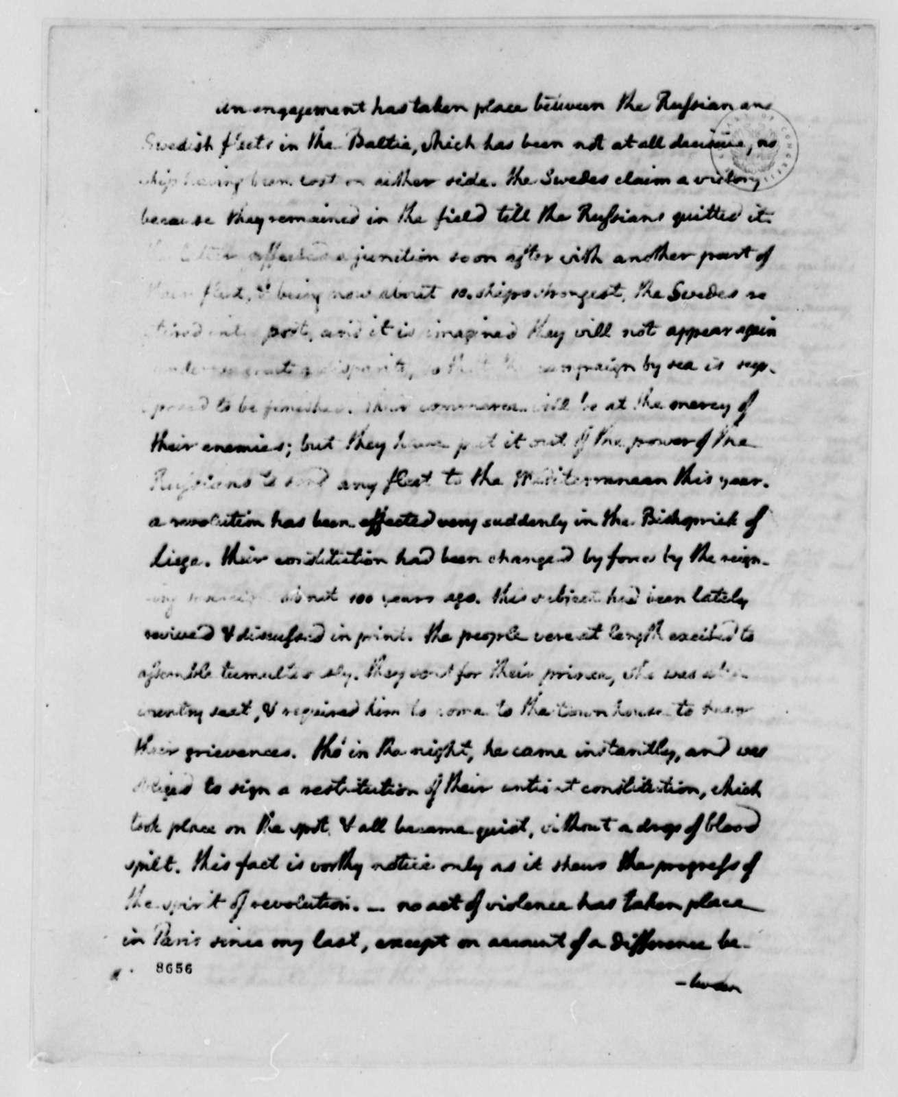 Thomas Jefferson to John Jay, August 27, 1789