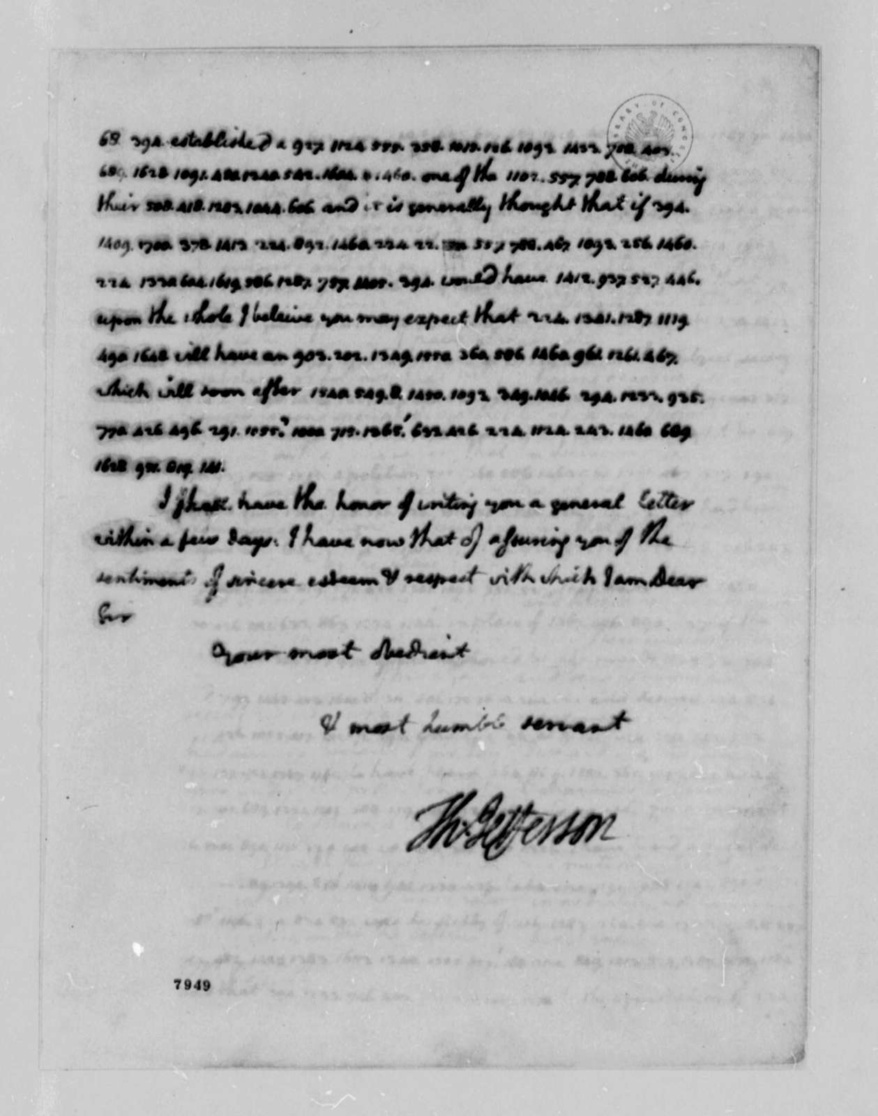Thomas Jefferson to John Jay, February 4, 1789, Partially in Code; with Copy