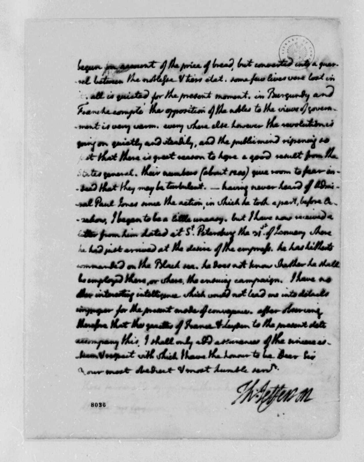 Thomas Jefferson to John Jay, March 1, 1789
