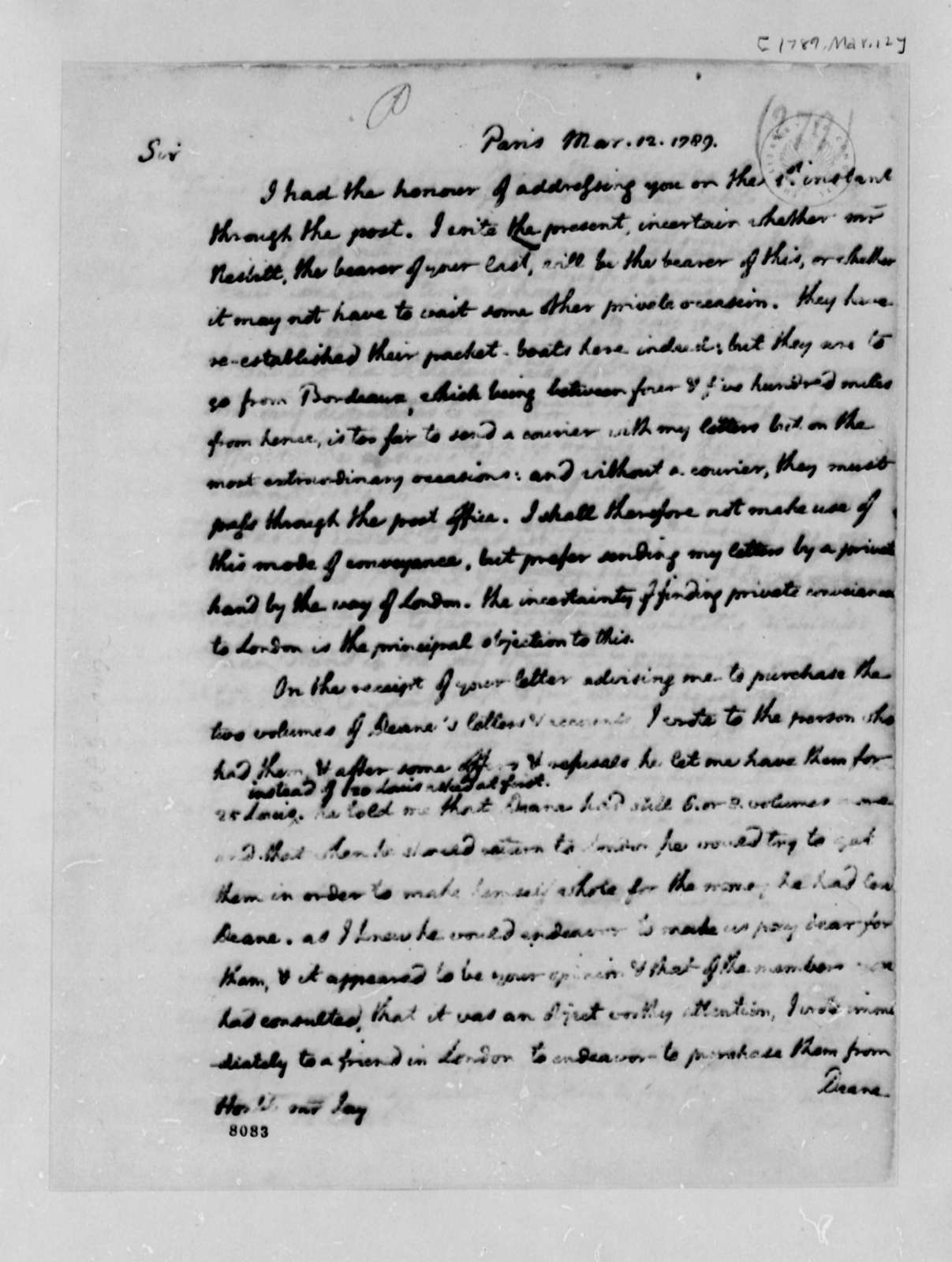 Thomas Jefferson to John Jay, March 12, 1789, in French; with Copy