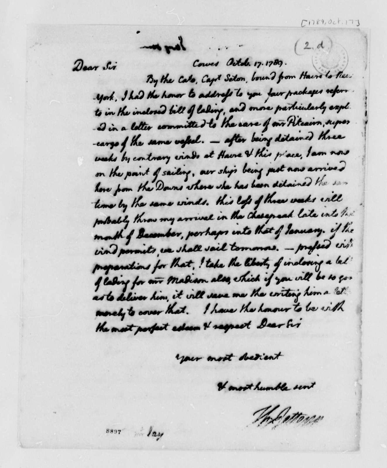 Thomas Jefferson to John Jay, October 17, 1789