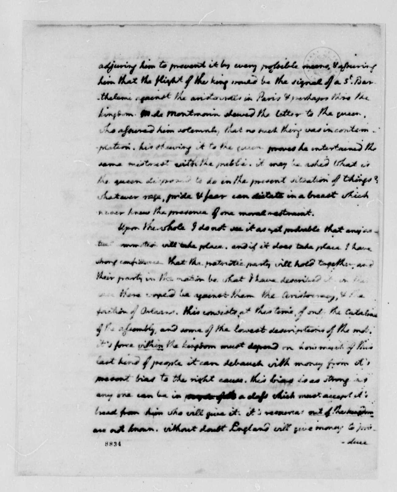 Thomas Jefferson to John Jay, September 19, 1789