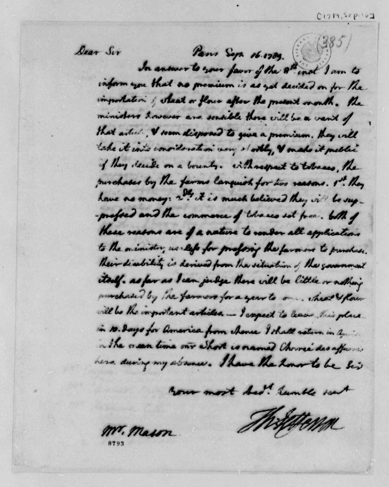 Thomas Jefferson to John Mason, September 16, 1789