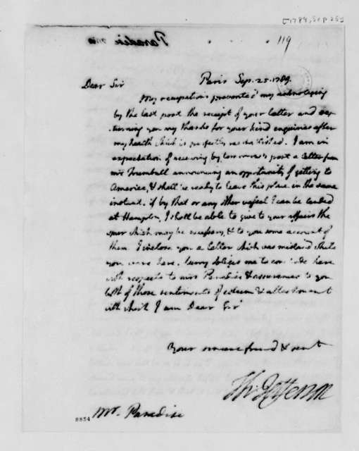 Thomas Jefferson to John Paradise, September 25, 1789