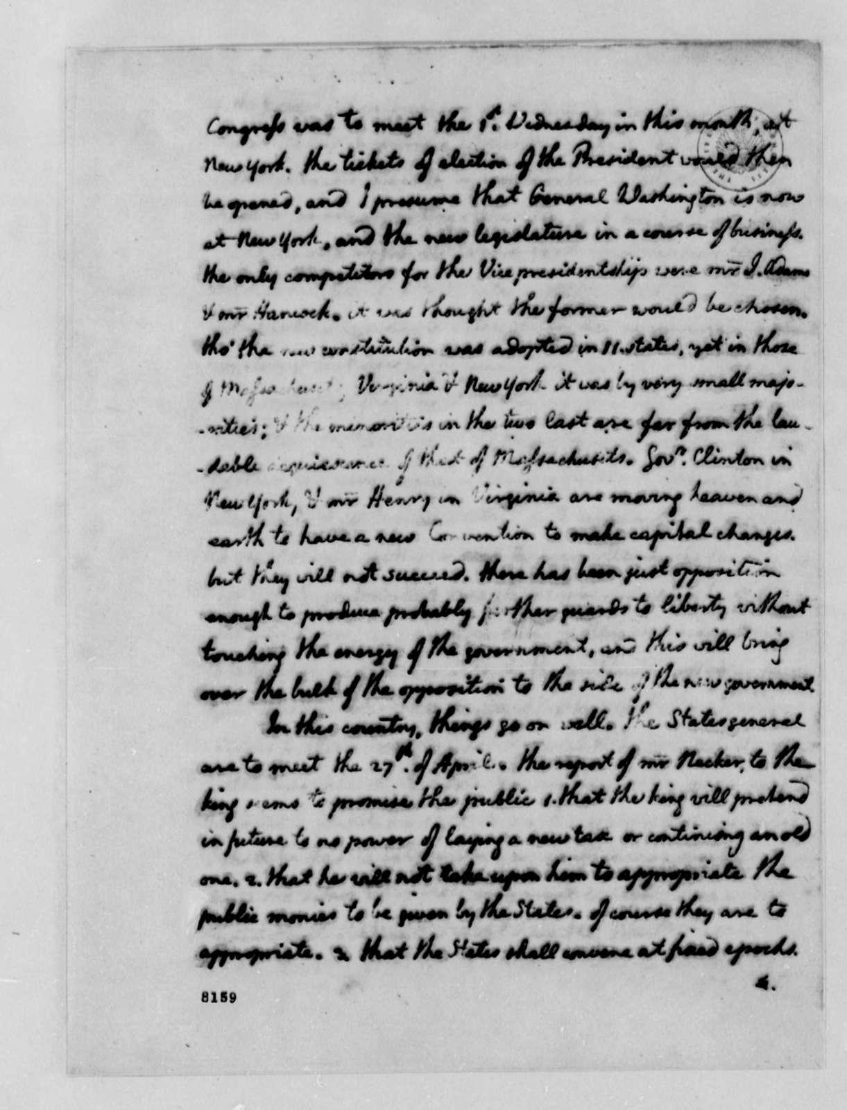 Thomas Jefferson to John Paul Jones, March 23, 1789