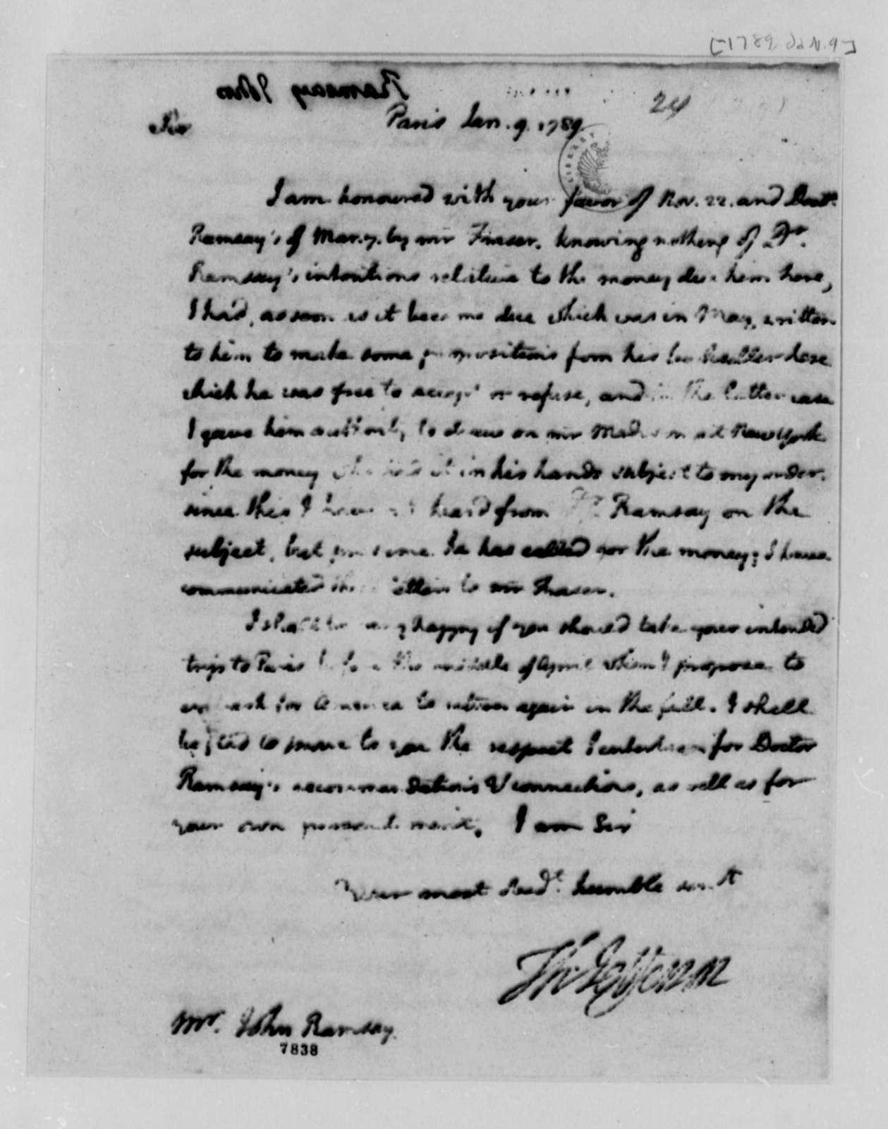 Thomas Jefferson to John Ramsay, January 9, 1789