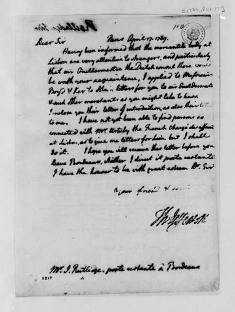 Thomas Jefferson to John Rutledge, Jr., April 17, 1789