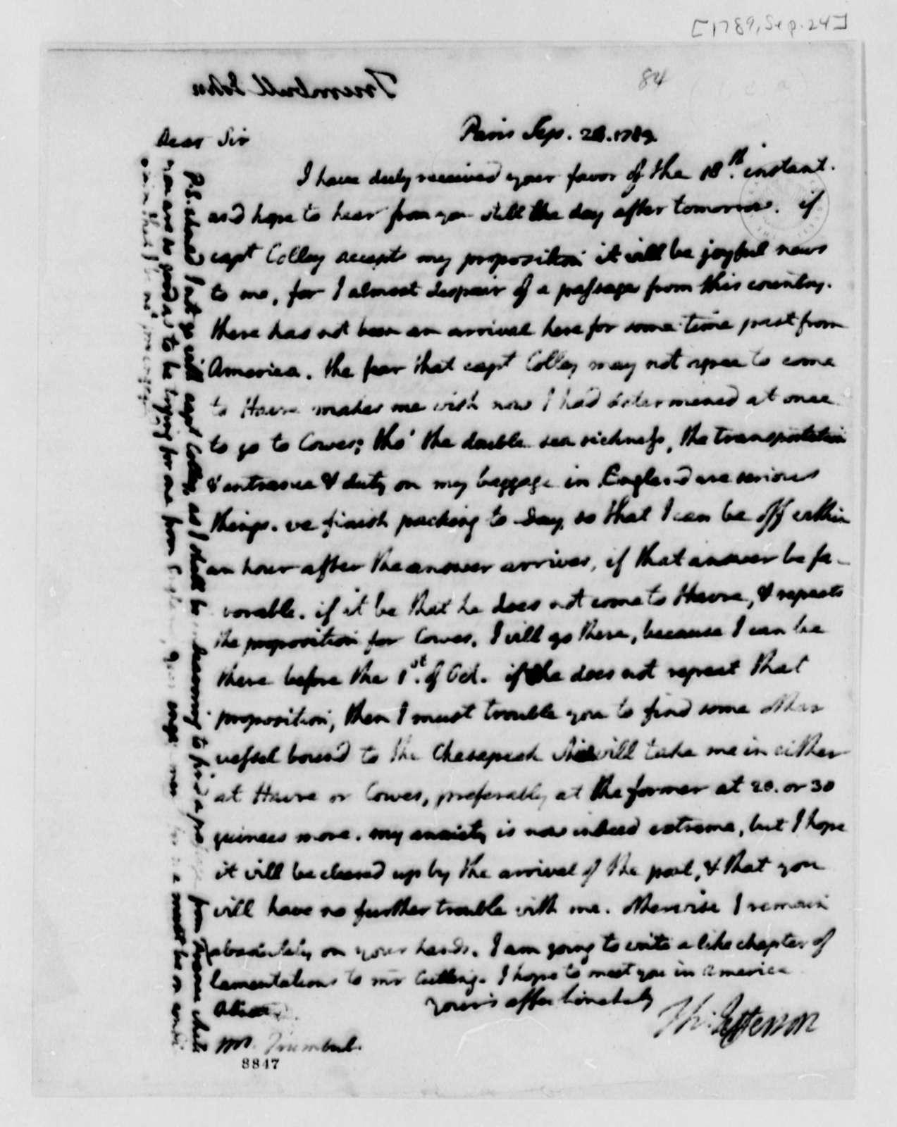 Thomas Jefferson to John Trumbull, September 24, 1789