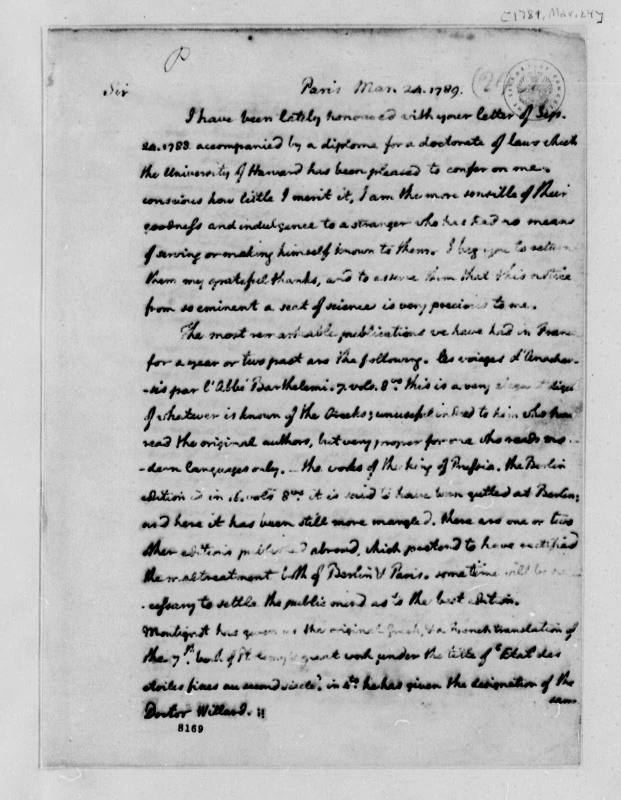 Thomas Jefferson to Joseph Willard, March 24, 1789