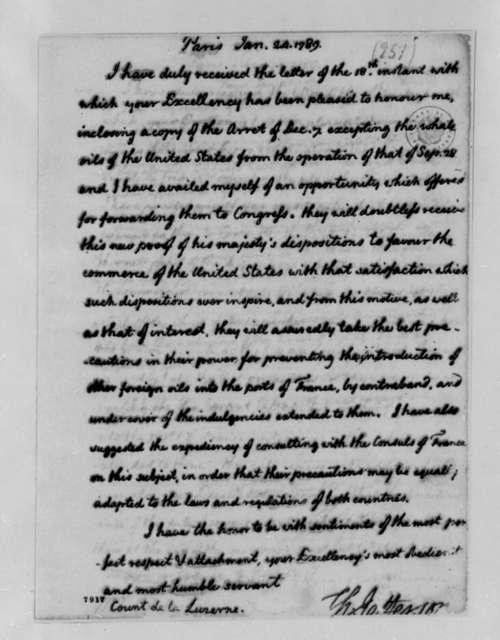 Thomas Jefferson to La Luzerne, January 24, 1789