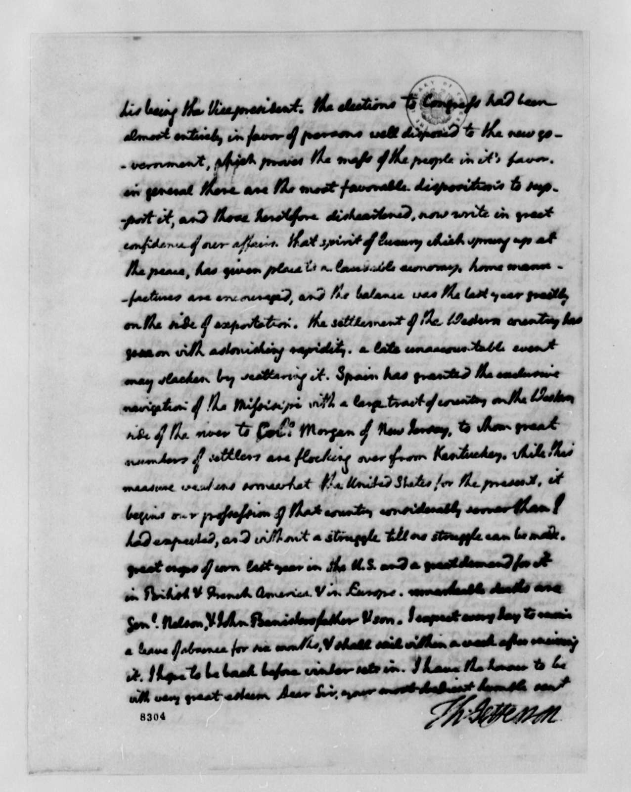 Thomas Jefferson to Lewis Littlepage, May 8, 1789
