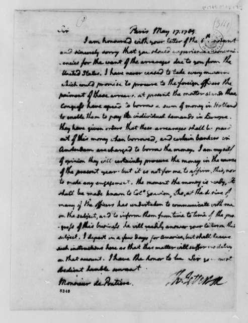 Thomas Jefferson to Louis de Pontiere, May 17, 1789