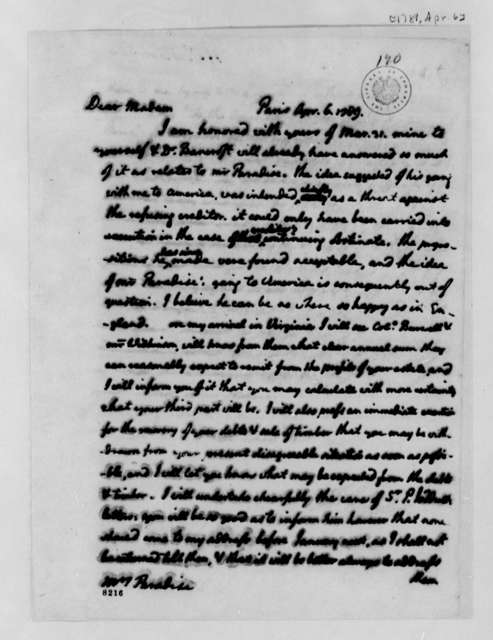 Thomas Jefferson to Lucy Ludwell Paradise, April 6, 1789
