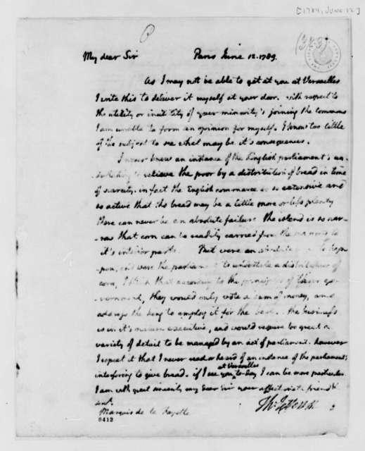 Thomas Jefferson to Marie Joseph Paul Yves Roch Gilbert du Motier, Marquis de Lafayette, June 12, 1789