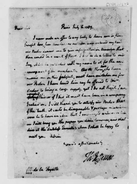 Thomas Jefferson to Marie Joseph Paul Yves Roch Gilbert du Motier, Marquis de Lafayette, July 6, 1789