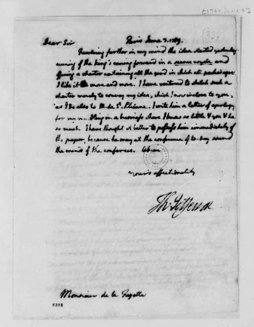 Thomas Jefferson to Marie Joseph Paul Yves Roch Gilbert du Motier, Marquis de Lafayette, June 3, 1789