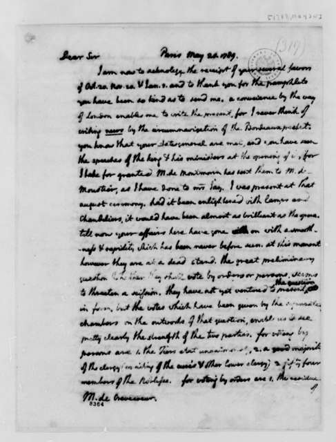 Thomas Jefferson to Michel Guillaume Jean de Crevecoeur, May 20, 1789
