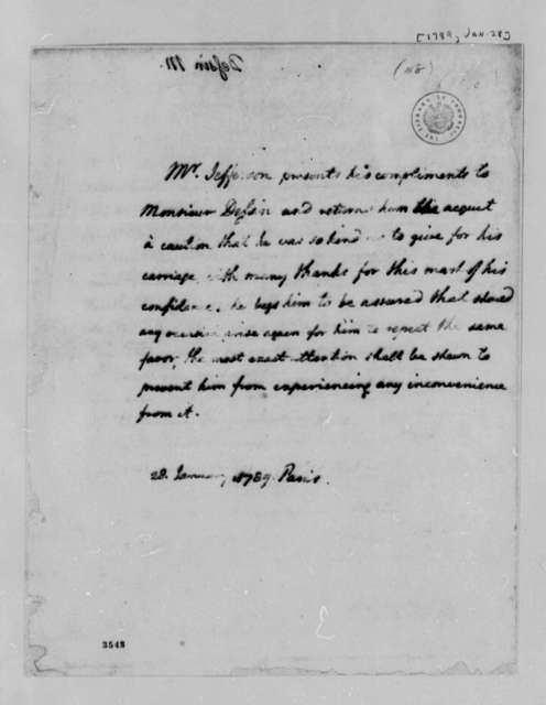 Thomas Jefferson to Pierre Dessin, January 28, 1789