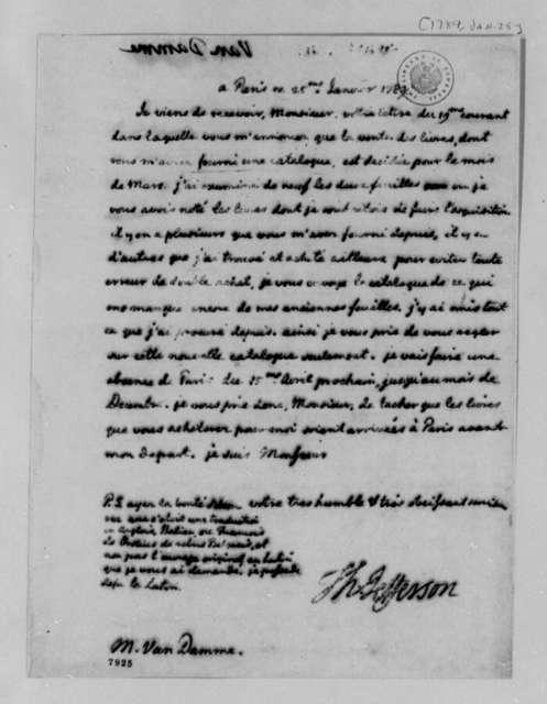 Thomas Jefferson to Pieter van Damme, January 25, 1789