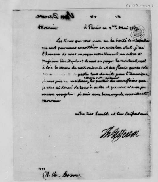 Thomas Jefferson to Pieter van Damme, May 3, 1789, in French